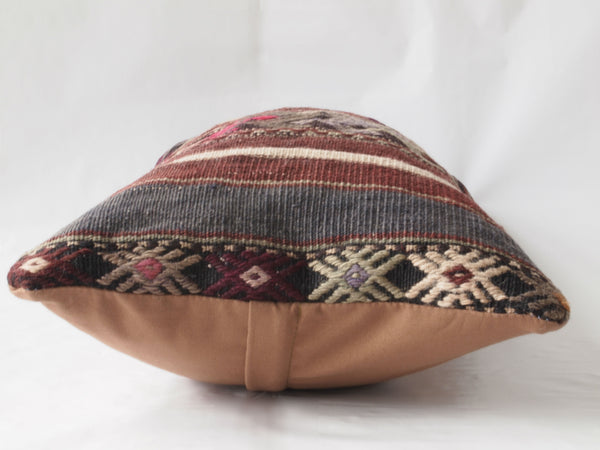 Side view of Turkish Kilim Pillow. Medium Lumbar pillow.
