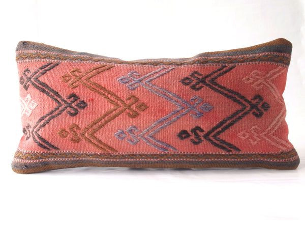 Turkish kilim pillow. Lumbar pillow. Boho.