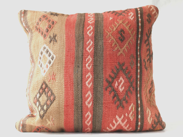 Turkish kilim pillow. Large. Square. Pinks and browns.