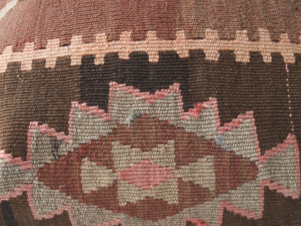Kilim Pillow. Detail view with corals and browns. Boho.