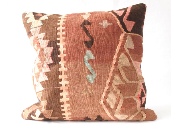 Turkish Kilim Pillow. Coral, browns and turquoise. Full view.
