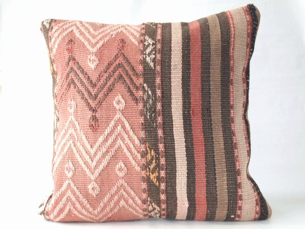 Square throw pillow. Turkish kilim. 16 x 16 inches.
