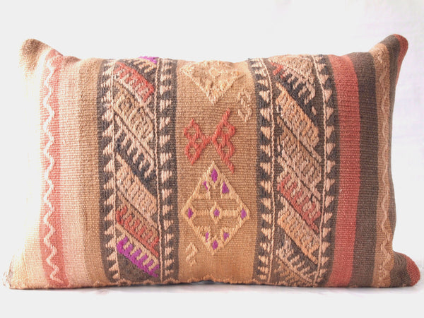 Turkish Kilim Pillow. Large Lumbar.