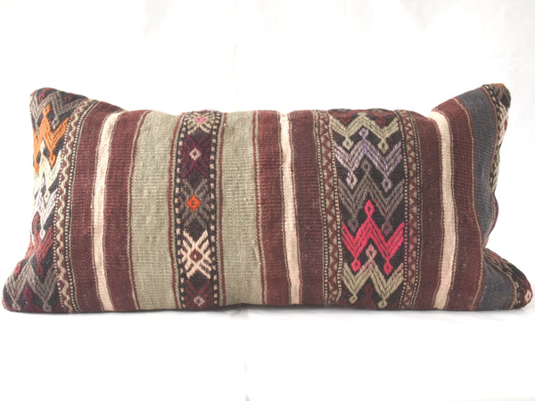 Turkish kilim pillow. Lumbar pillow.