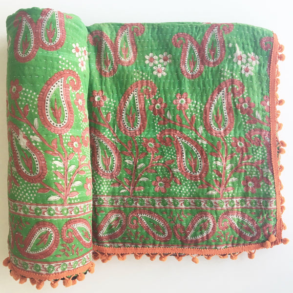 Reversible. Second side of Indian Kantha Quilt no. 2
