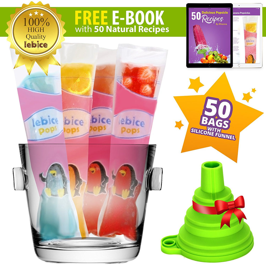 50 Ice Pop Bags  - BPA-Free with Reclosable Zip Seals + 2 Gifts!