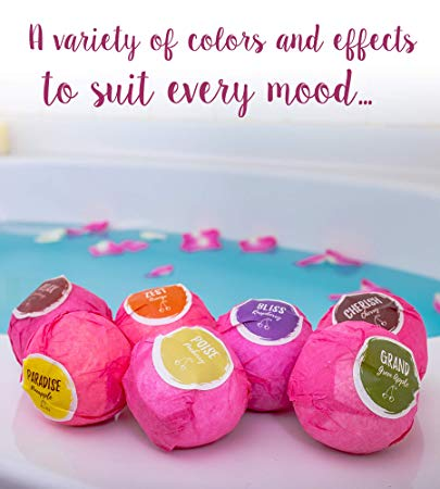 Natural Bath Bombs Gift Set - 8 Bath Bombs + Free Bath Sponge | By CherryDip