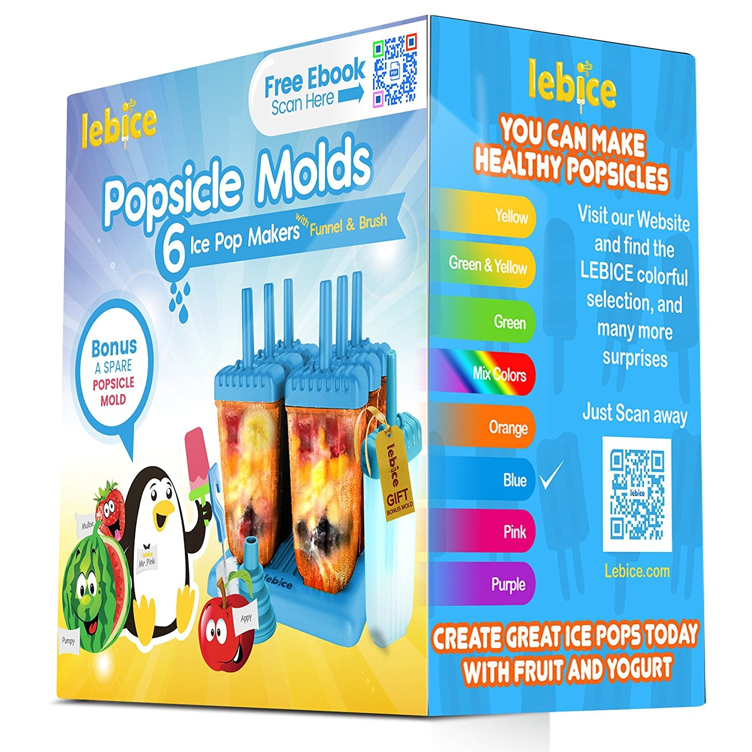 Dark Blue + Dark Green) InnoGear Ice Lolly Moulds 8 Popsicle Molds Set Ice Cream Moulds with Cleaning Brush Silicone Folding Funnel Reusable