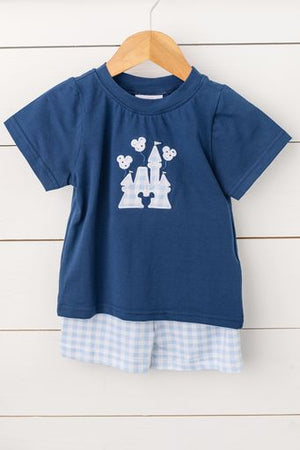 Knit Castle Applique Blue Gingham Short Set