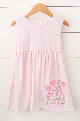 Knit Castle Applique Pink Gingham Dress