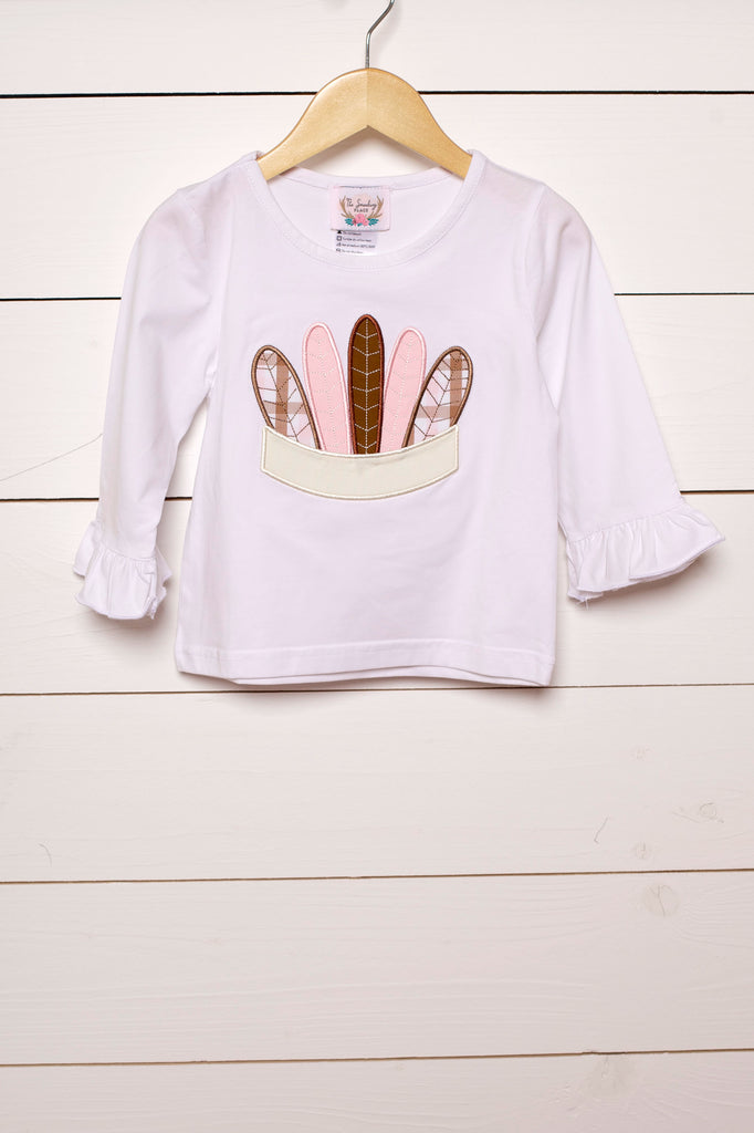 Pink Feather Headband Applique White Ruffle Shirt