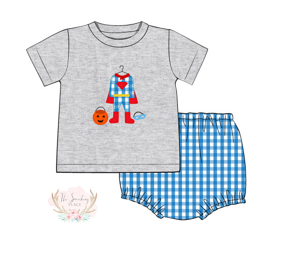 Superhero Costume Applique Aqua Gingham Diaper Set