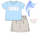 Marlin Smocked Blue and Tan Gingham Short Set