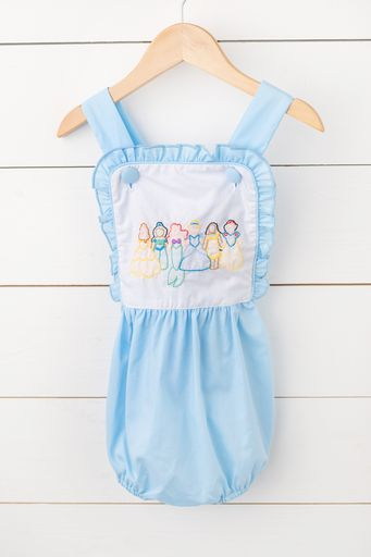 Princess Shadow Embroidery Blue Sunsuit