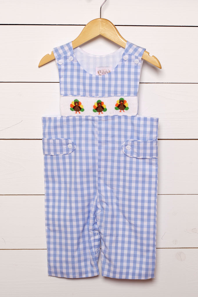 Turkey Smocked Blue Gingham Longall