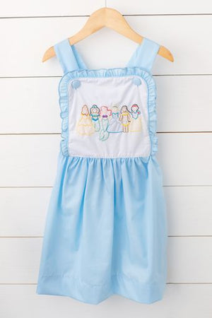Princess Shadow Embroidery Blue Sundress