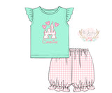 Knit Castle Applique Pink Gingham Bubble Short Set