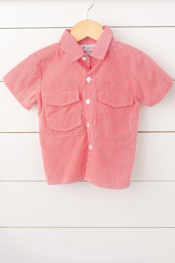 Red Gingham Fishing Shirt