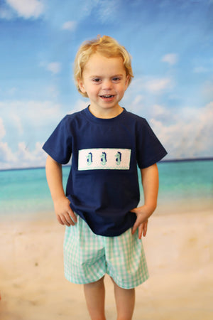 Seahorse Smocked Navy and Mint Gingham Short Set