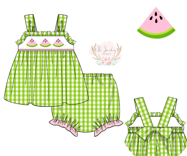 Watermelon Smocked Lime Green Gingham Bloomer Set