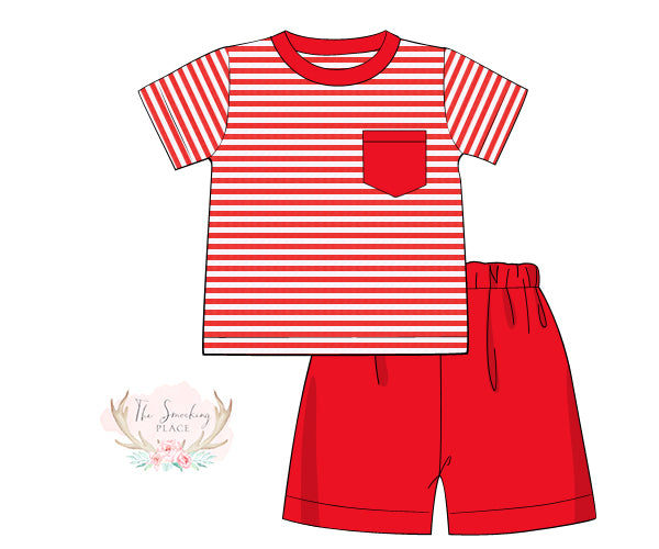 Load image into Gallery viewer, Knit Red Stripe Short Set