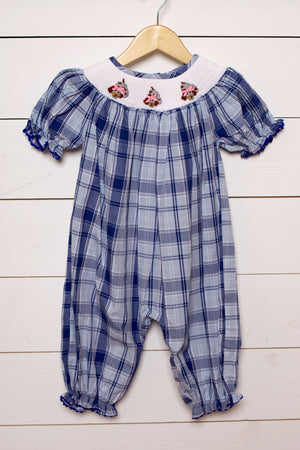 Load image into Gallery viewer, Dog Smocked Blue Navy Plaid Girl Long Bubble