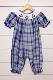 Dog Smocked Blue Navy Plaid Girl Long Bubble