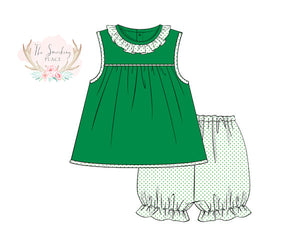 Load image into Gallery viewer, Knit Green and Green Bitty Dot Bubble Short Set