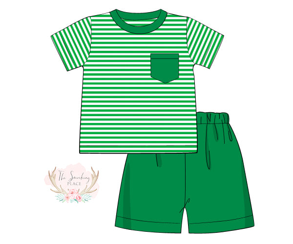 Load image into Gallery viewer, Knit Green Stripe Short Set