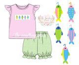 Fishing Lure Smocked Pink and Green Seersucker Bubble Short Set