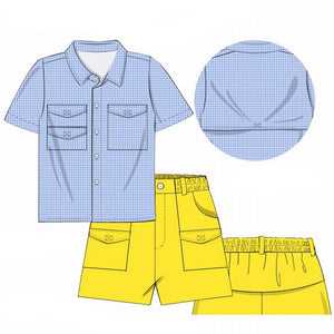 Load image into Gallery viewer, Blue Gingham and Yellow Fishing Short Set