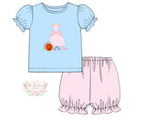 Princess Dress Applique Pink Dot Bubble Short Set