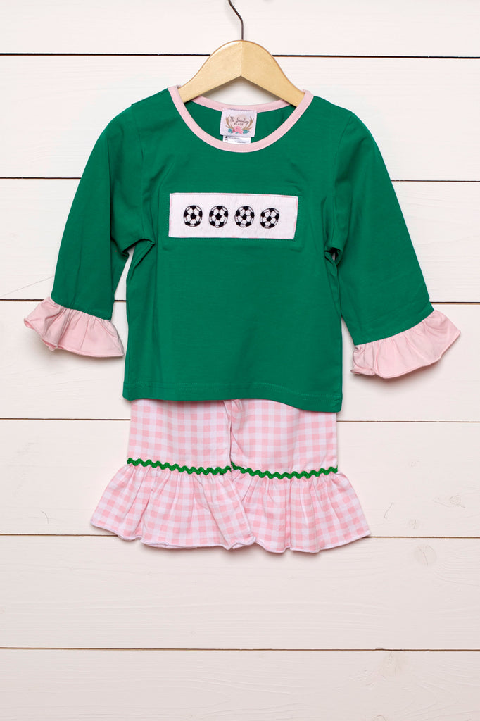 Soccer Smocked Green Shirt Pink Gingham Ruffle Pant Set