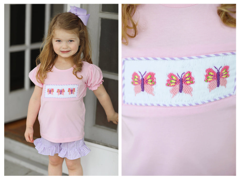 Butterfly Smocked Lavender Seersucker Ruffle Short Set