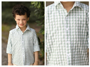 Sage Gingham Collared Long Sleeve Shirt