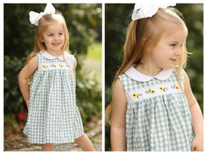 Sunflower Embroidered Sage Gingham Dress