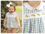Sunflower Embroidered Sage Gingham Bubble