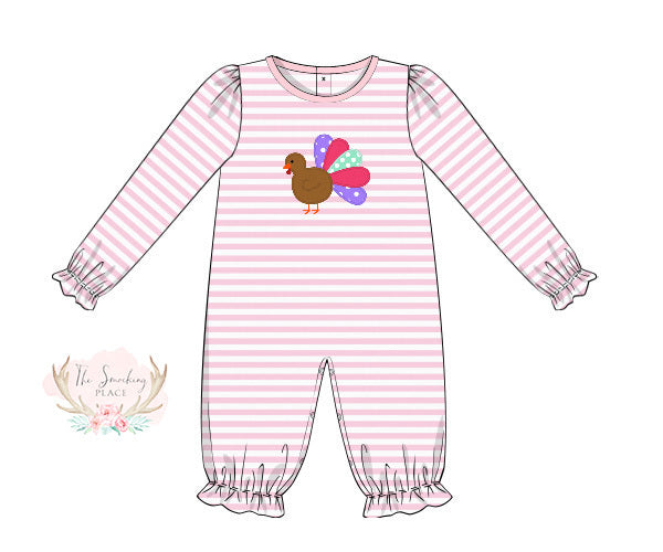 Load image into Gallery viewer, Knit Turkey Applique Pink Stripe Romper