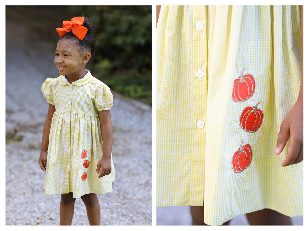 Pumpkin Applique Yellow Gingham Dress