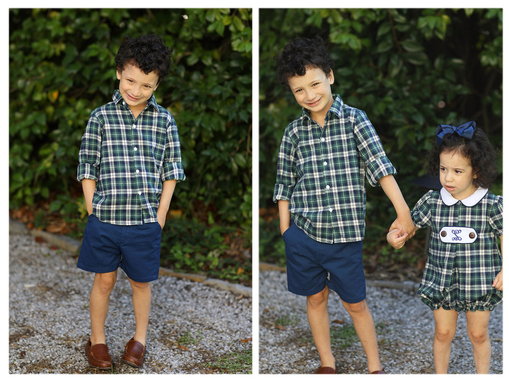 Load image into Gallery viewer, Green Navy Tartan Button Down Shirt Navy Khaki Short Set