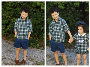 Green Navy Tartan Button Down Shirt Navy Khaki Short Set