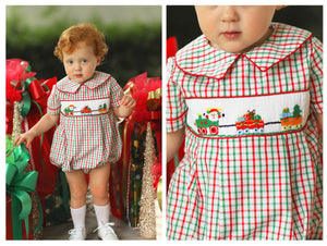 Christmas Parade Smocked Red & Green Windowpane Bubble