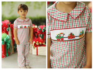 Christmas Parade Smocked Red & Green Windowpane Pant Set