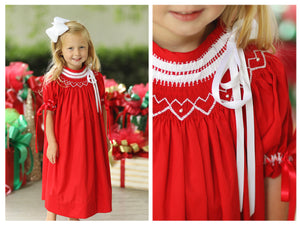 Load image into Gallery viewer, Geometric Smocked Heirloom Style Red Pique Bishop Dress