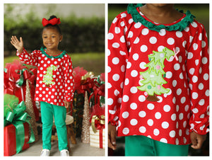 Load image into Gallery viewer, Knit Christmas Tree Applique Girl Legging Set