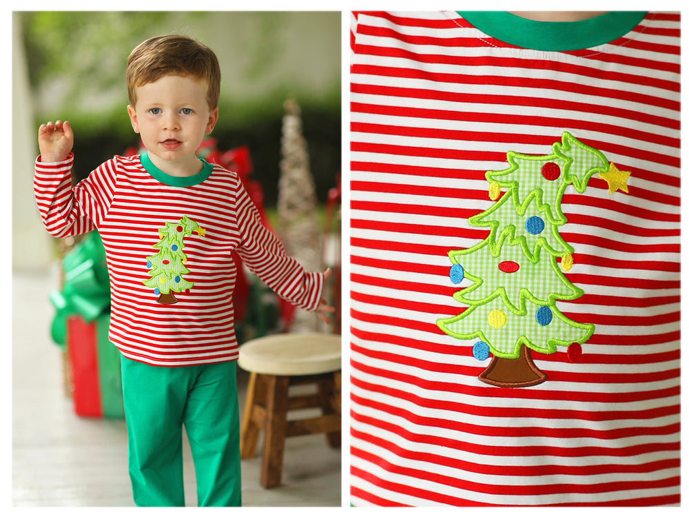 Knit Christmas Tree Applique Red Stripe Pant Set