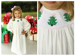 Load image into Gallery viewer, Christmas Tree Smocked Off White Corduroy Bishop Dress