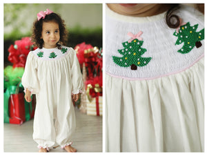 Christmas Tree Smocked Off White Corduroy Girl Long Bishop Bubble
