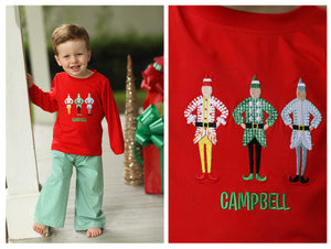 Load image into Gallery viewer, Santa's Elves Applique Green Gingham Pant Set