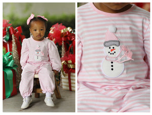 Load image into Gallery viewer, Knit Snowman Applique Light Pink Stripe Romper